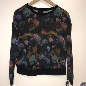 NWT Mossimo Sheer Floral Long Sleeve Black XS